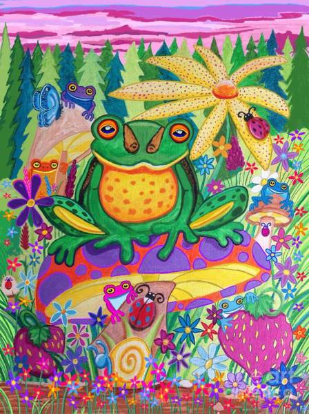 Wall Art - Painting - Happy Frogs And Wild Flowers  by Nick Gustafson