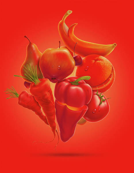 Vegetarian Digital Art - Happy Fruits Vegetables by Axllll