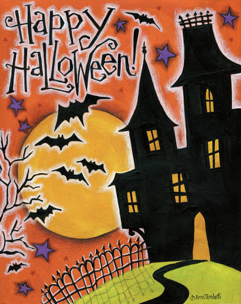 Haunted Wall Art - Painting - Happy Halloween by Anne Tavoletti