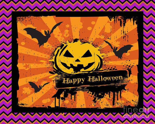 Wall Art - Digital Art - Happy Halloween-chevron Pumpkin by Jean Plout