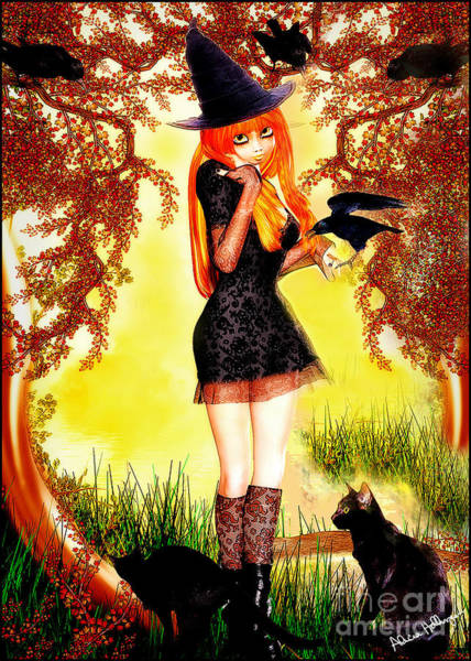 Mixed Media - Happy Halloween Cute Witch by Alicia Hollinger