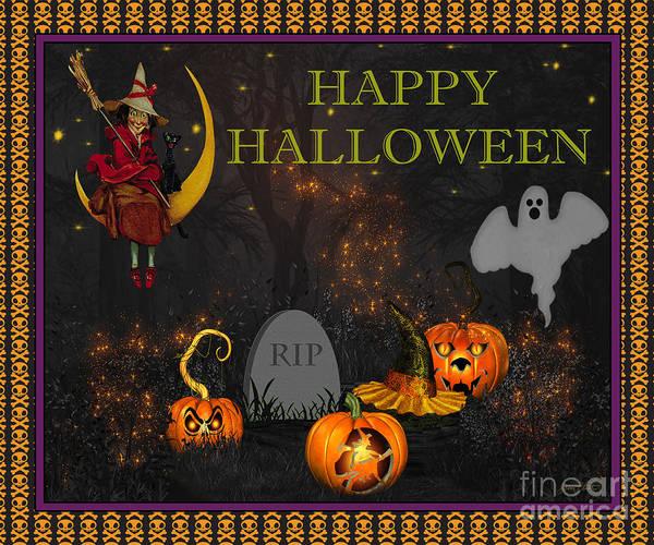 Wall Art - Digital Art - Happy Halloween-rip by Jean Plout