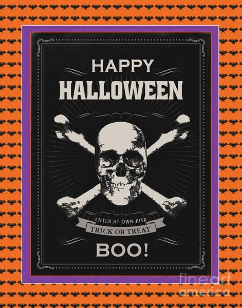 Wall Art - Digital Art - Happy Halloween-sckull by Jean Plout