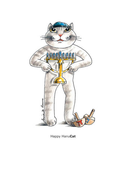 Pussycat Drawing - Happy Hanucat by Louise McClain Reeves