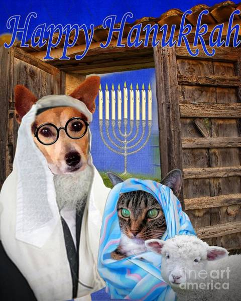 Digital Art - Happy Hanukkah -1 by Kathy Tarochione