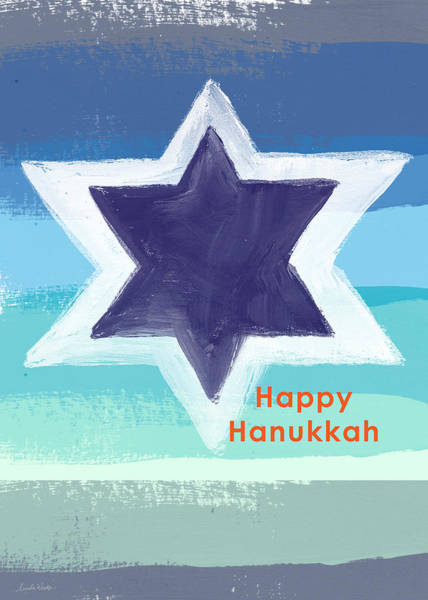 Card Painting - Happy Hanukkah Card by Linda Woods