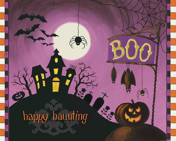 Haunted Wall Art - Painting - Happy Haunting Boo by Lisa Audit