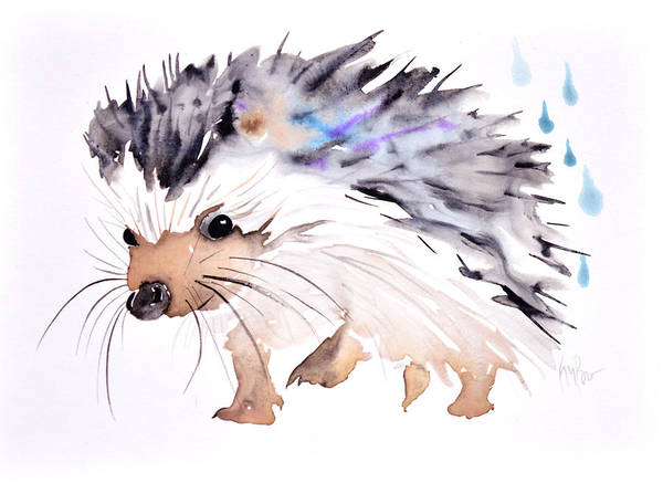Rain Forest Painting - Happy Hedgehog by Krista Bros