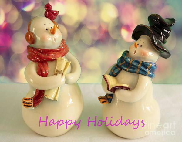 Carol Singing Photograph - Happy Holiday Snowmen by Linda C Johnson