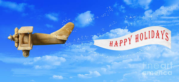 Vintage Airplane Photograph - Happy Holidays Banner by Amanda Elwell