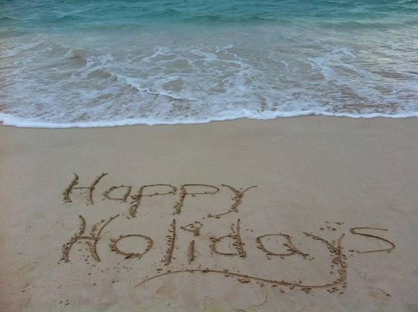 Happy Holidays Beach Messages Art Print