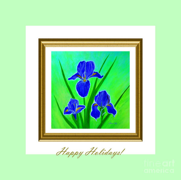 Digital Art - Happy Holidays. Iris Flowers by Oksana Semenchenko
