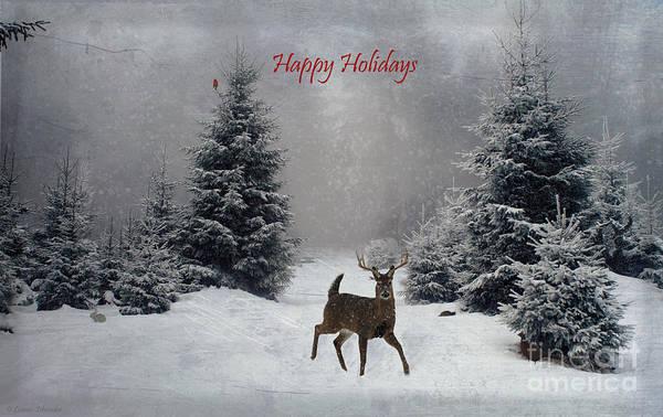 Wall Art - Digital Art - Happy Holidays - On A Snowy Evening  by Lianne Schneider