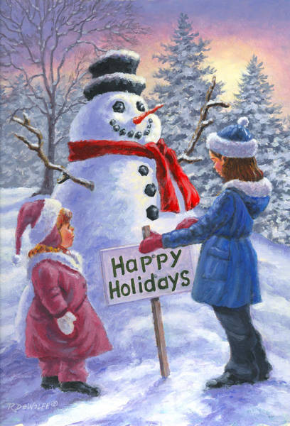 Snowman Wall Art - Painting - Happy Holidays by Richard De Wolfe