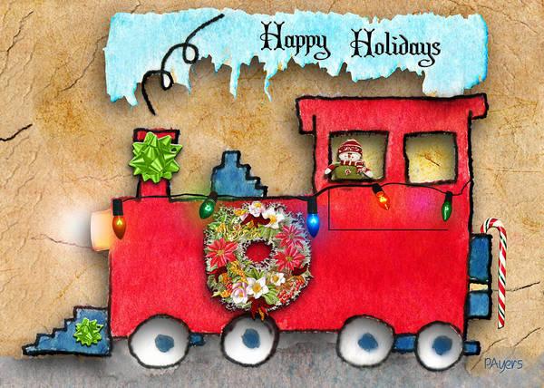 Wall Art - Painting - Happy Holidays Train by Paula Ayers