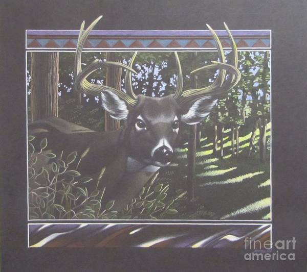 White Tailed Deer Drawing - Happy Hunting Grounds by Lawrence Jones