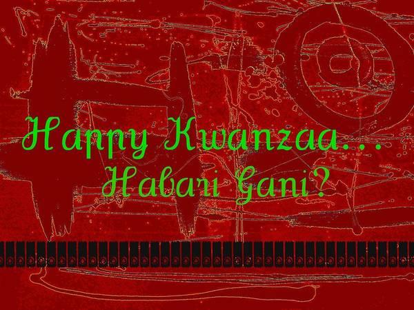 Digital Art - Happy Kwanzaa Habari Gani Red by Cleaster Cotton