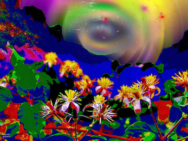 Planets And Moons Digital Art - Happy Landscape by Augusta Stylianou