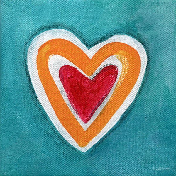 Blue Heart Wall Art - Painting - Happy Love by Linda Woods