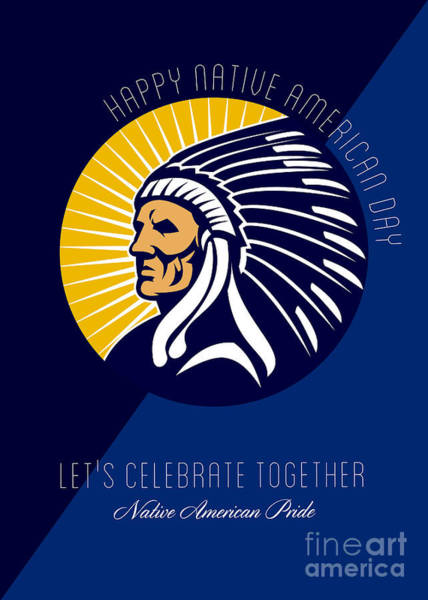 Indian Brave Digital Art - Happy Native American Day Retro Poster Card by Aloysius Patrimonio
