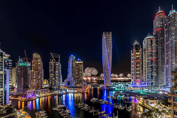 Modern Architecture Photograph - Happy New Year Dubai by Vinaya Mohan