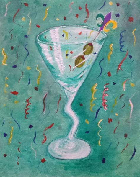Martini Glasses Painting - Happy New Year by Judy Jones