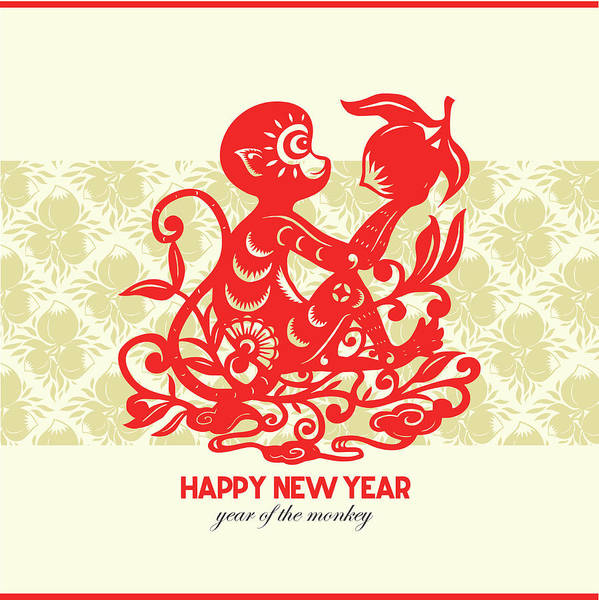 Luck Digital Art - Happy New Year, Year Of The Monkey 2016 by Ly86