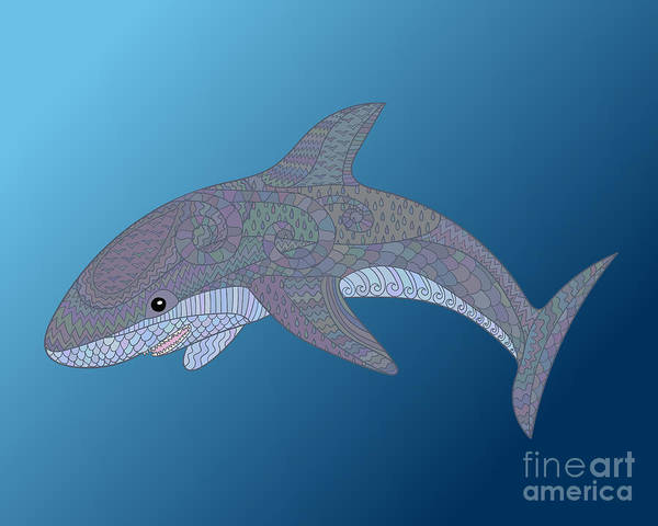 Wall Art - Digital Art - Happy Shark With High Details. Colored by Watercolor swallow