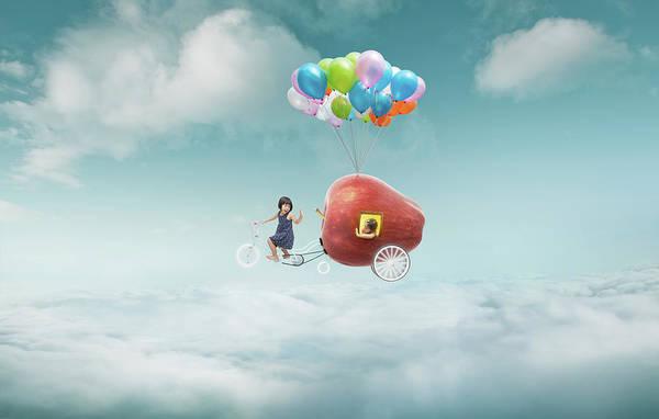 Photograph - Happy Sister Enjoy With Fantasy Apple by Jamesteohart