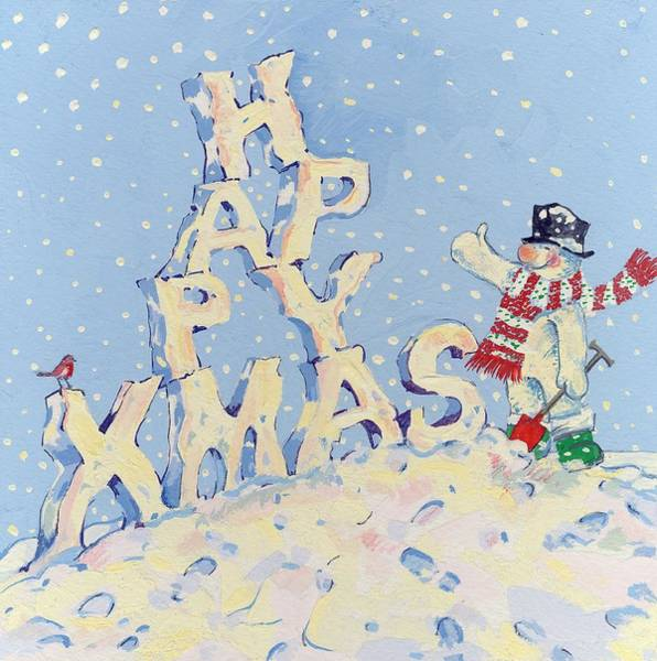 Spade Painting - Happy Snowman by David Cooke