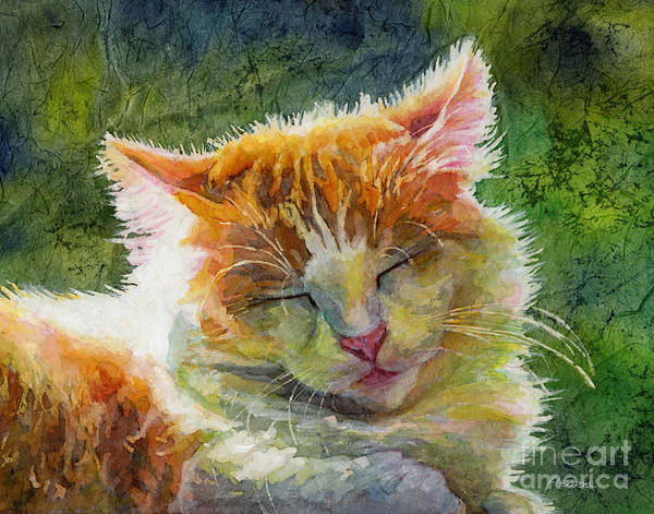 Kitten Wall Art - Painting - Happy Sunbathing 2 by Hailey E Herrera