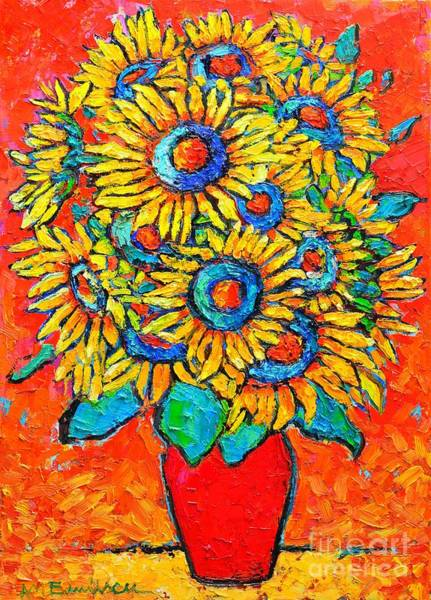 Wall Art - Painting - Happy Sunflowers by Ana Maria Edulescu