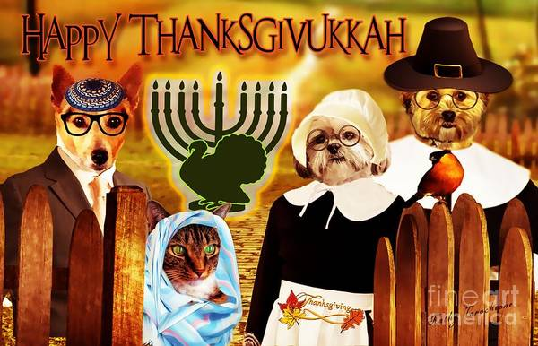 Digital Art - Happy Thanksgivukkah -5 by Kathy Tarochione