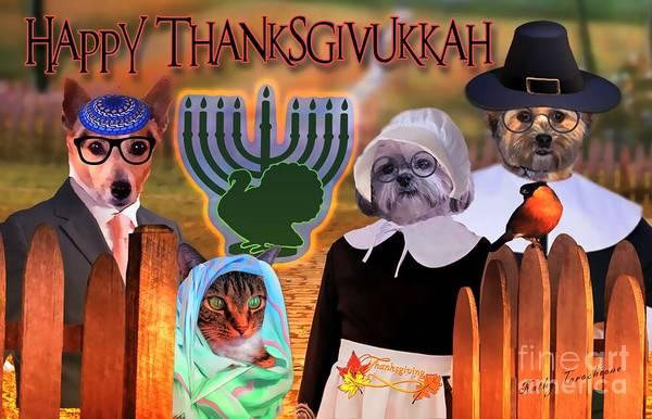 Digital Art - Happy Thaznksgivukkah -3 by Kathy Tarochione