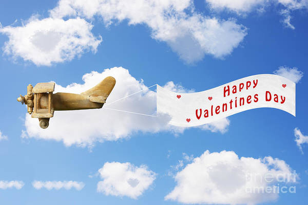 Vintage Airplane Photograph - Happy Valentines Day by Amanda Elwell