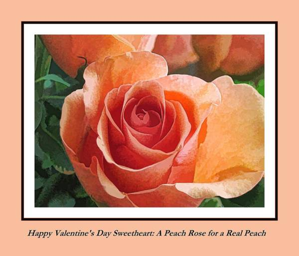 Digital Art - Happy Valentine's Day Peach Rose by Doug Morgan