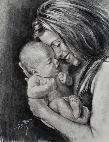 Happy Wall Art - Drawing - Happy Young Mother by Ylli Haruni