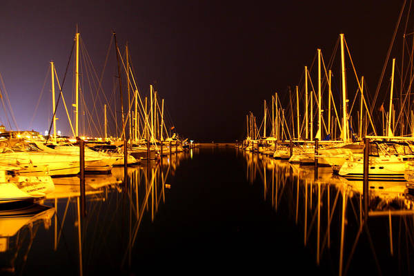 Photograph - Harbor Boats Night by Patrick Malon
