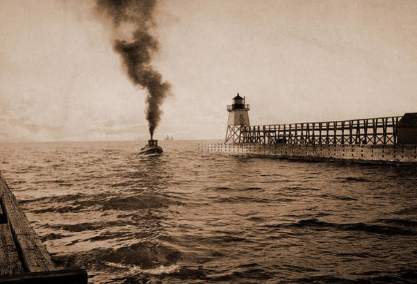 Michigan Drawing - Harbor Entrance, Charlevoix, Michigan, Harbors by Litz Collection