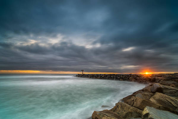 Southern Photograph - Harbor Jetty Sunset by Larry Marshall