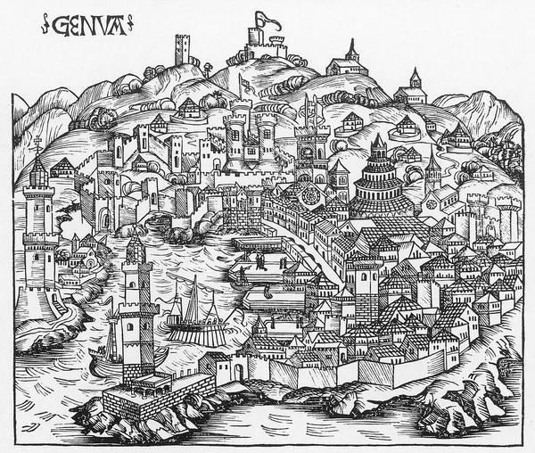 Wall Art - Painting - Harbor Of Genoa, 1493 by Granger