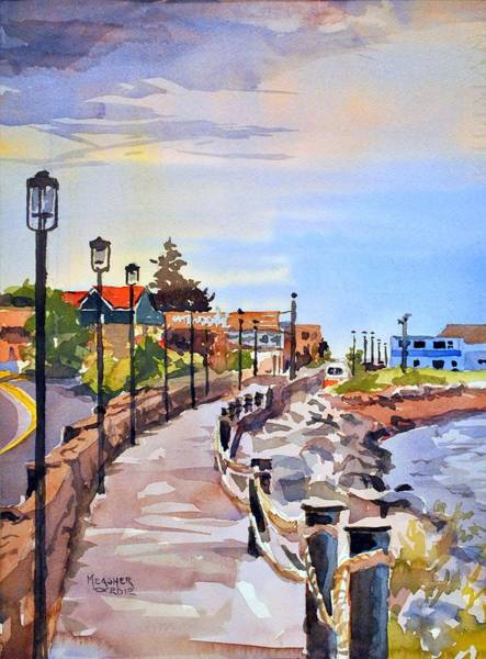Lake Superior Painting - Harbor Walk by Spencer Meagher