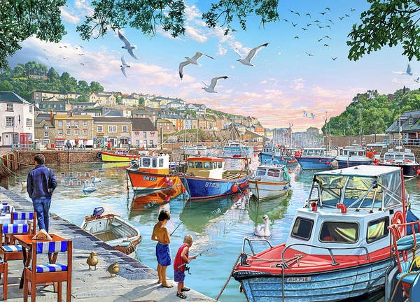 Wall Art - Painting - Harbour Boats by MGL Meiklejohn Graphics Licensing