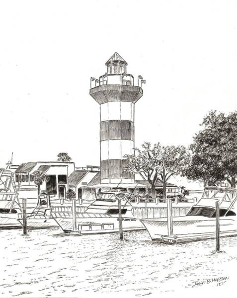 South Beach Drawing - Harbour Town by John Hopson