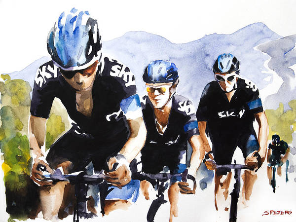Le Tour De France Wall Art - Painting - Hard High Yards by Shirley  Peters