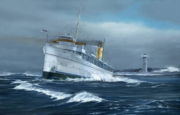 Lake Huron Painting - Hard To Starboard by Captain Bud Robinson