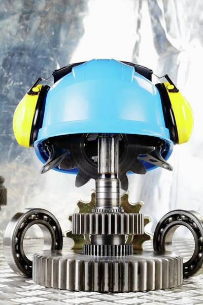 Protective Clothing Photograph - Hardhat With Industrial Gears by Christian Lagerek/science Photo Library