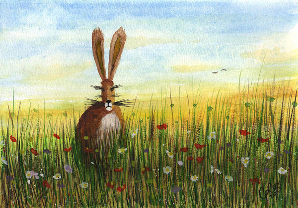 Chris Cox Painting - Hare In A Meadow #5 by Chris Cox