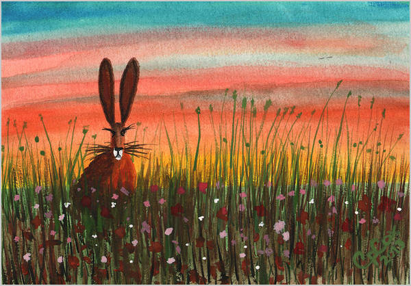 Chris Cox Painting - Hare In A Meadow #6 by Chris Cox