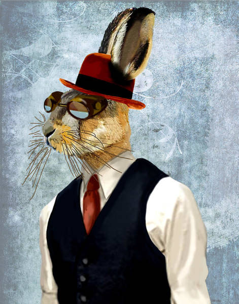 Haring Digital Art - Hare In Waist Coat by Kelly McLaughlan